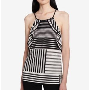 Calvin Klein stripped cold shoulder blouse